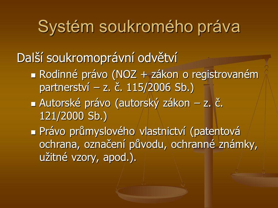Systém soukromého práva Další soukromoprávní odvětví Rodinné právo (NOZ + zákon o registrovaném partnerství – z.