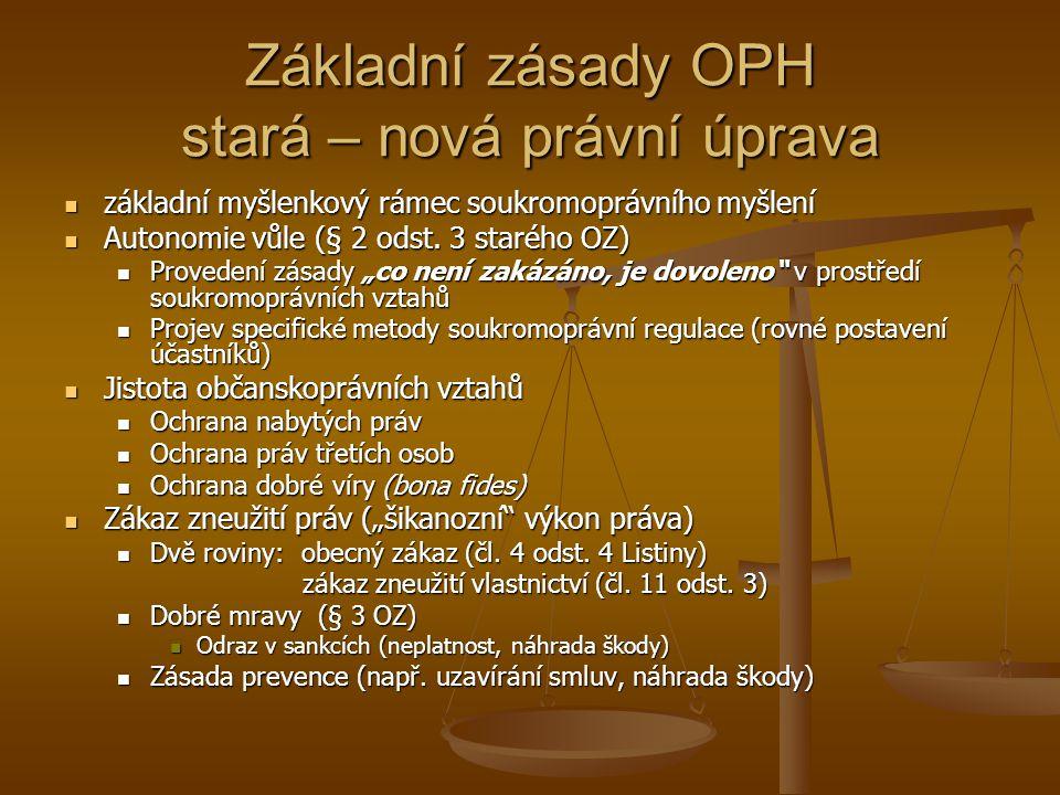 Nový OZ (účinnost od 1.1. 2014) Kodex soukromého práva (inspirace tzv.