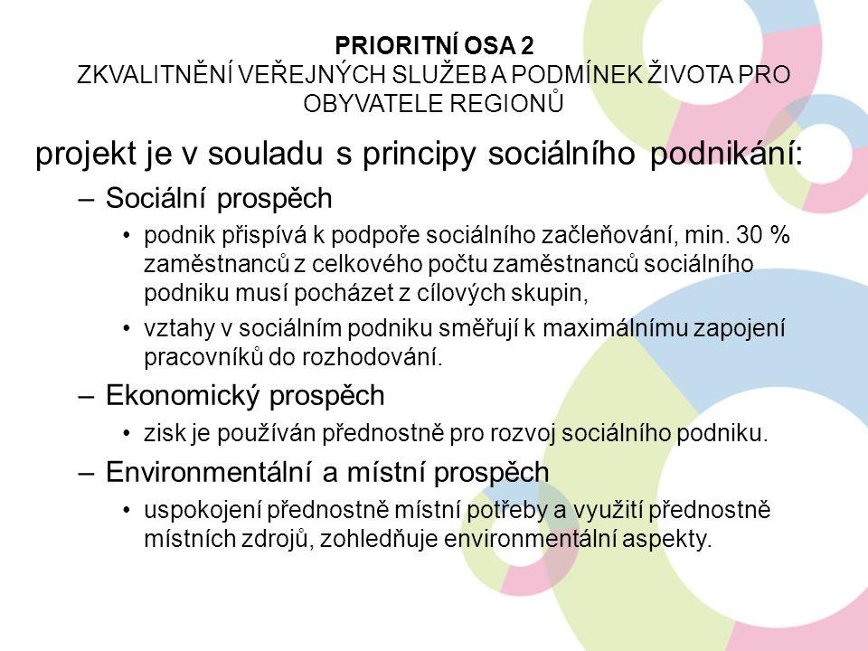 projekt je v souladu s principy sociálního podnikání: –Sociální prospěch podnik přispívá k podpoře sociálního začleňování, min. 30 % zaměstnanců z cel