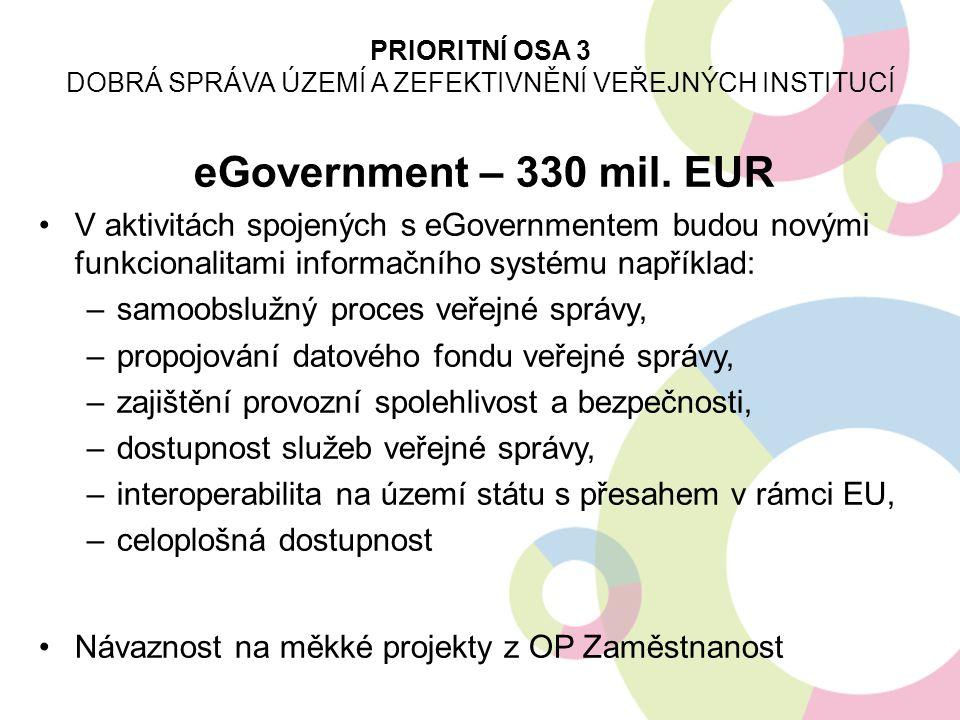 eGovernment – 330 mil. EUR V aktivitách spojených s eGovernmentem budou novými funkcionalitami informačního systému například: –samoobslužný proces ve