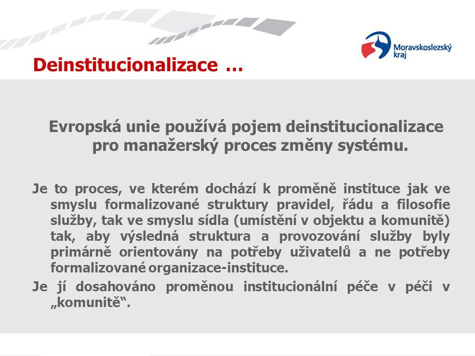 Deinstitucionalizace … Evropská unie používá pojem deinstitucionalizace pro manažerský proces změny systému.