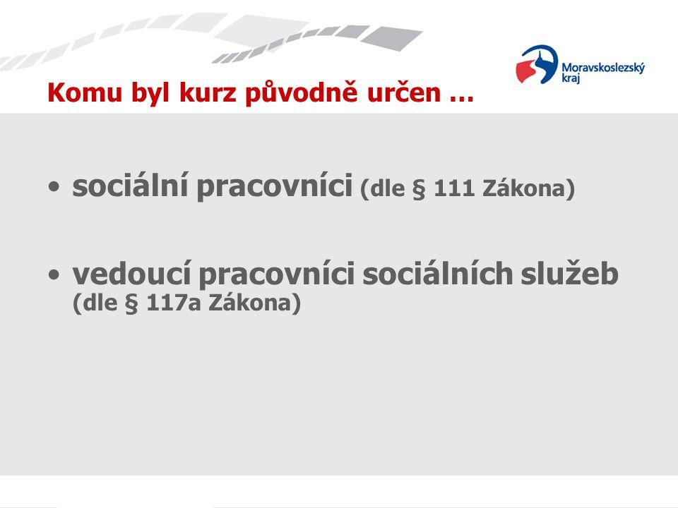 Komu byl kurz původně určen … sociální pracovníci (dle § 111 Zákona) vedoucí pracovníci sociálních služeb (dle § 117a Zákona)