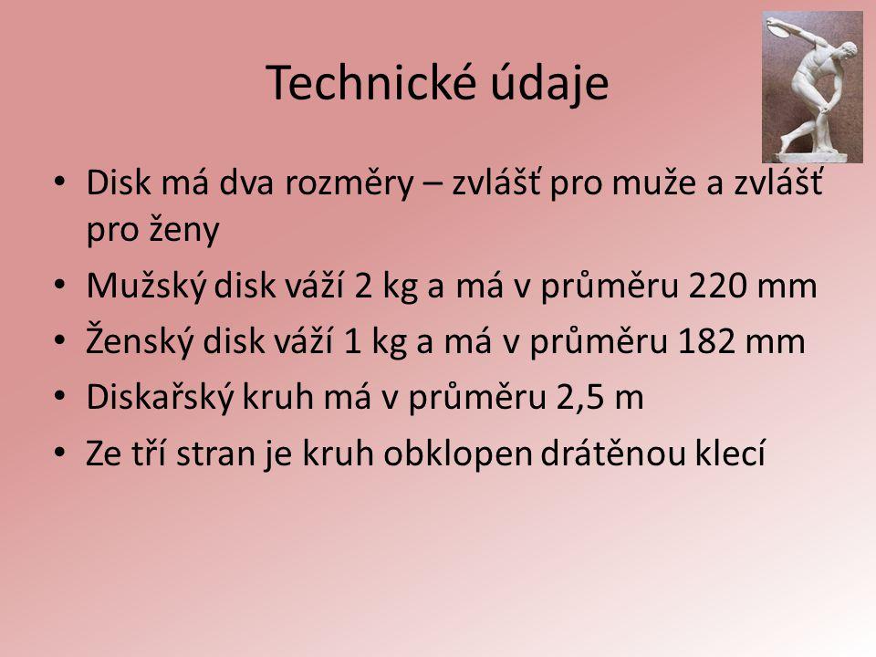 Technické údaje Disk má dva rozměry – zvlášť pro muže a zvlášť pro ženy Mužský disk váží 2 kg a má v průměru 220 mm Ženský disk váží 1 kg a má v průmě