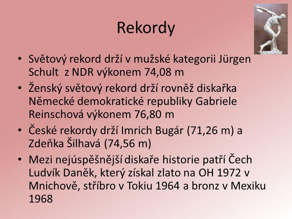 Rekordy Světový rekord drží v mužské kategorii Jürgen Schult z NDR výkonem 74,08 m Ženský světový rekord drží rovněž diskařka Německé demokratické rep