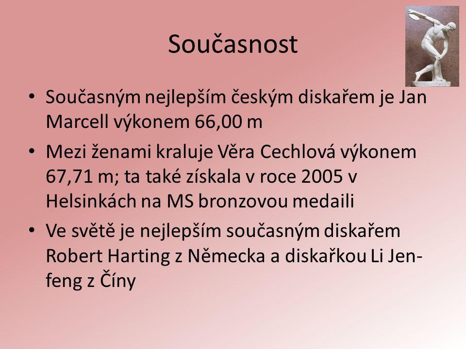 Současnost Současným nejlepším českým diskařem je Jan Marcell výkonem 66,00 m Mezi ženami kraluje Věra Cechlová výkonem 67,71 m; ta také získala v roc