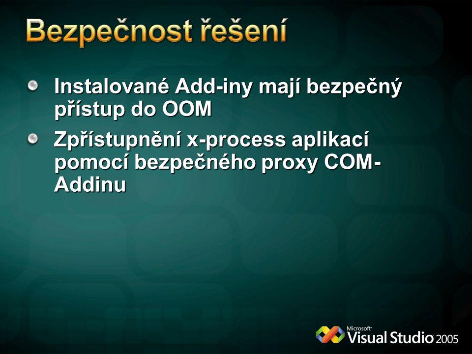 Instalované Add-iny mají bezpečný přístup do OOM Zpřístupnění x-process aplikací pomocí bezpečného proxy COM- Addinu