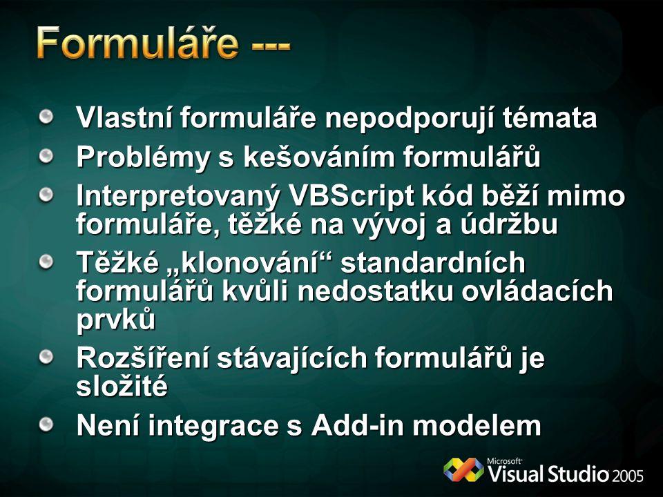 """Vlastní formuláře nepodporují témata Problémy s kešováním formulářů Interpretovaný VBScript kód běží mimo formuláře, těžké na vývoj a údržbu Těžké """"kl"""