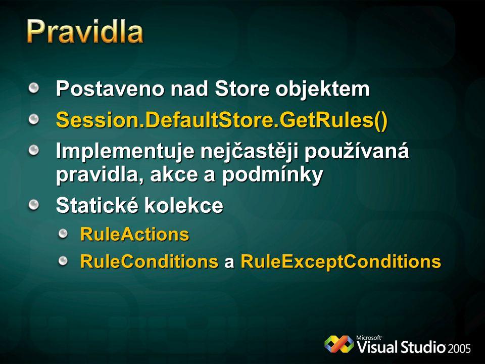 Postaveno nad Store objektem Session.DefaultStore.GetRules() Implementuje nejčastěji používaná pravidla, akce a podmínky Statické kolekce RuleActions