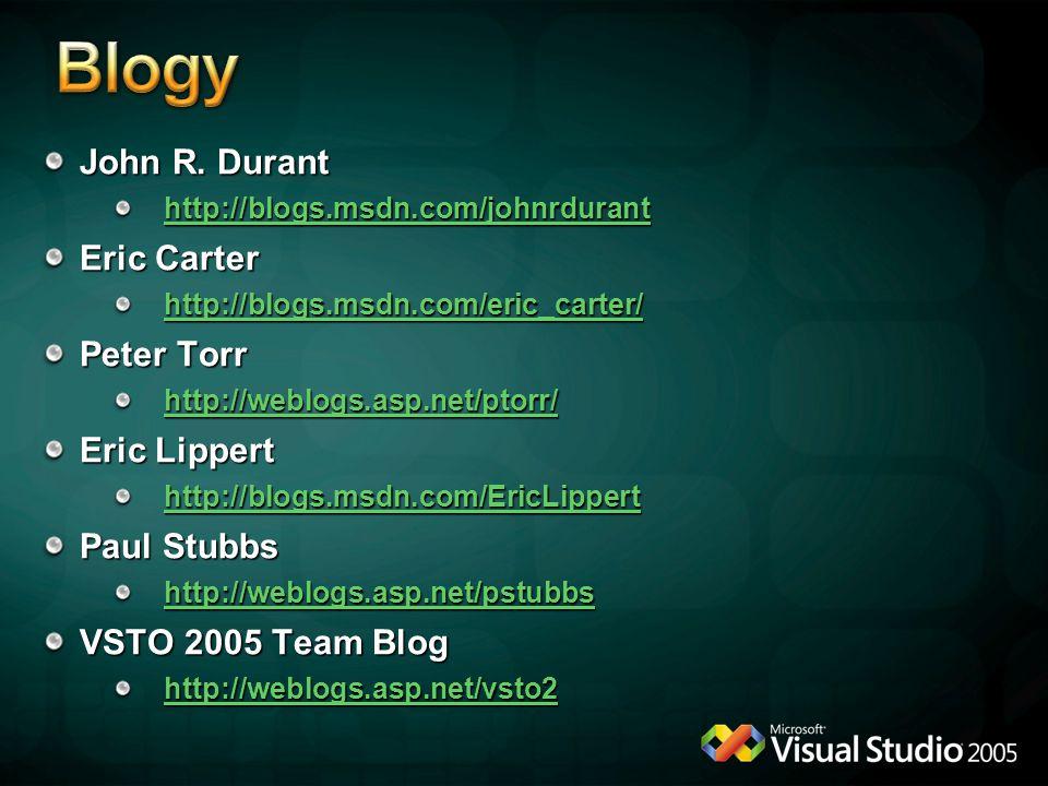 John R. Durant http://blogs.msdn.com/johnrdurant Eric Carter http://blogs.msdn.com/eric_carter/ Peter Torr http://weblogs.asp.net/ptorr/ Eric Lippert