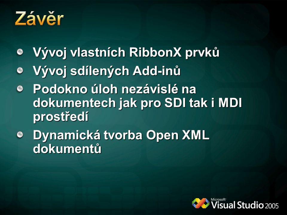 Vývoj vlastních RibbonX prvků Vývoj sdílených Add-inů Podokno úloh nezávislé na dokumentech jak pro SDI tak i MDI prostředí Dynamická tvorba Open XML
