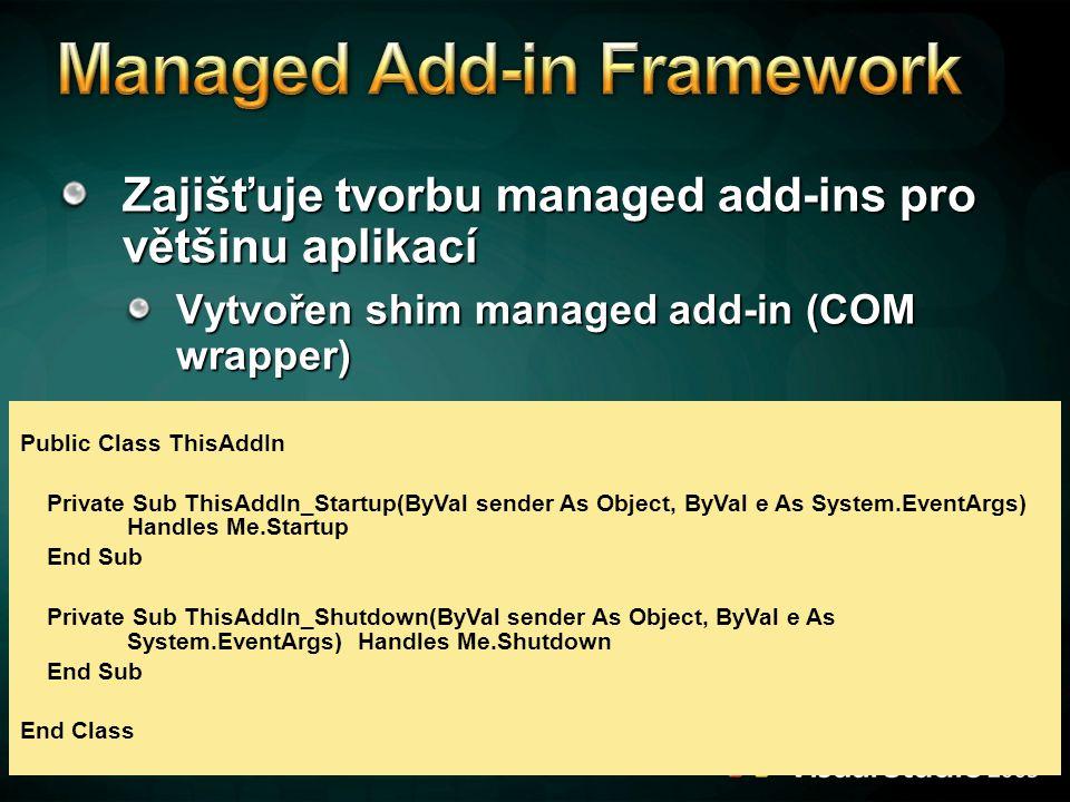 Zajišťuje tvorbu managed add-ins pro většinu aplikací Vytvořen shim managed add-in (COM wrapper) Public Class ThisAddIn Private Sub ThisAddIn_Startup(
