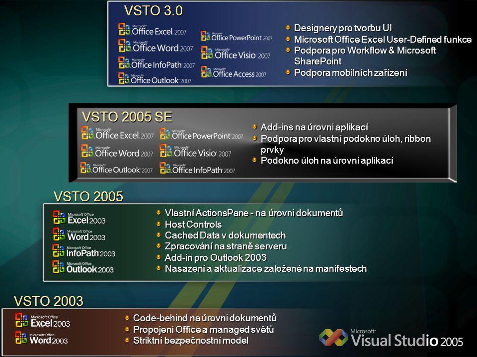 VSTO 2005 Vlastní ActionsPane - na úrovni dokumentů Host Controls Cached Data v dokumentech Zpracování na straně serveru Add-in pro Outlook 2003 Nasaz