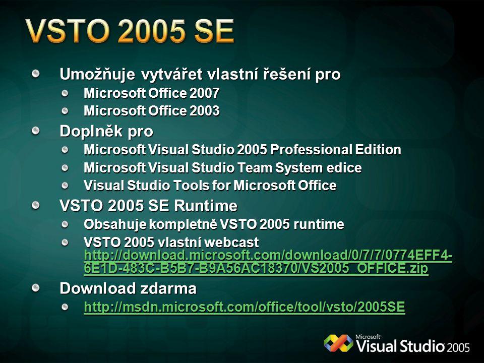 Umožňuje vytvářet vlastní řešení pro Microsoft Office 2007 Microsoft Office 2003 Doplněk pro Microsoft Visual Studio 2005 Professional Edition Microso