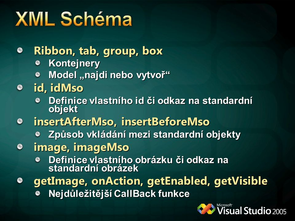 """Ribbon, tab, group, box Kontejnery Model """"najdi nebo vytvoř"""" id, idMso Definice vlastního id či odkaz na standardní objekt insertAfterMso, insertBefor"""