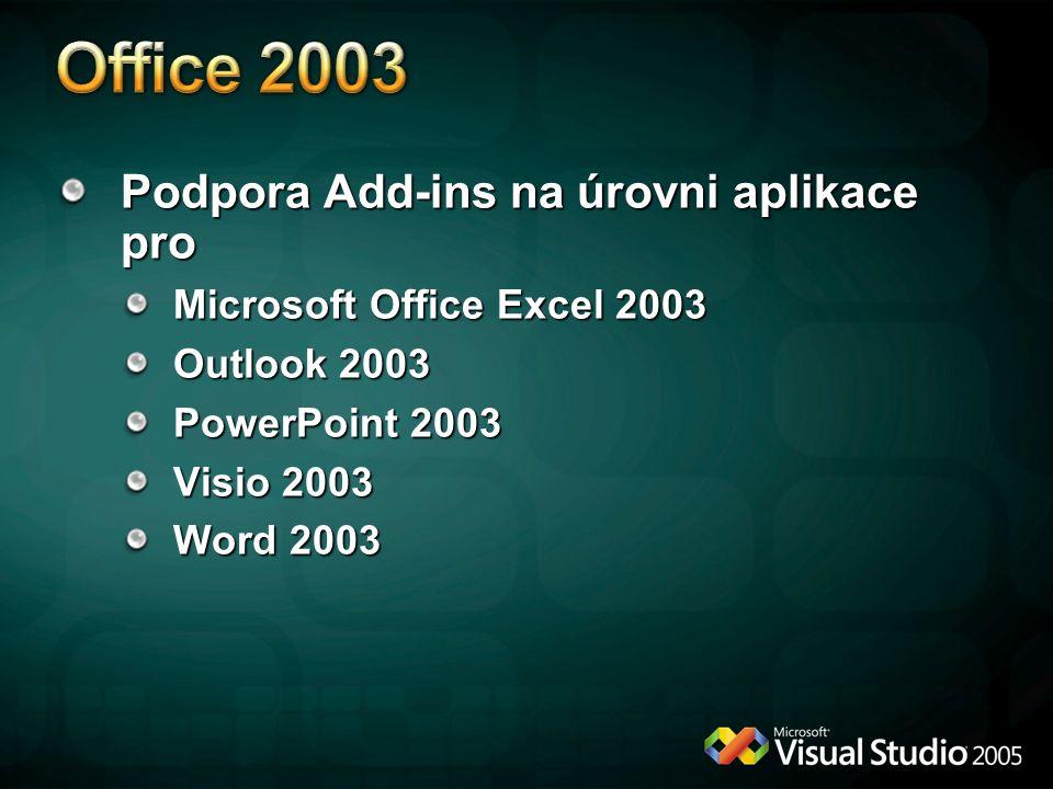Podpora Add-ins na úrovni aplikace pro Microsoft Office Excel 2003 Outlook 2003 PowerPoint 2003 Visio 2003 Word 2003