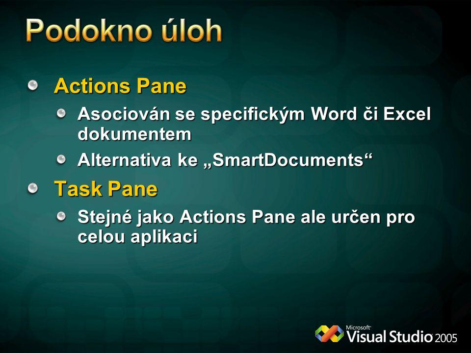 """Actions Pane Asociován se specifickým Word či Excel dokumentem Alternativa ke """"SmartDocuments"""" Task Pane Stejné jako Actions Pane ale určen pro celou"""