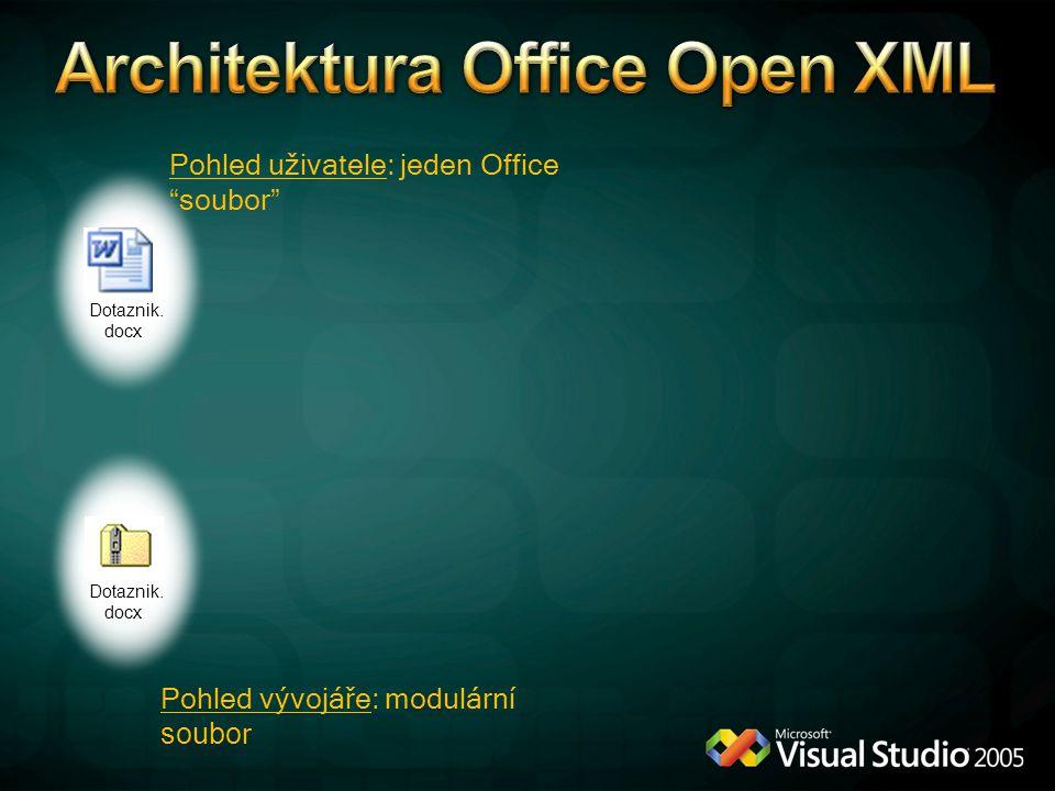 """Dotaznik. docx Pohled uživatele: jeden Office """"soubor"""" Pohled vývojáře: modulární soubo r Dotaznik. docx"""