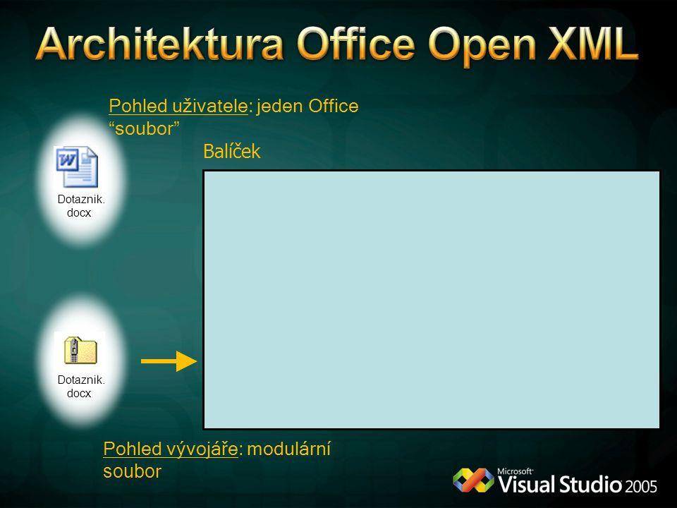 """Dotaznik. docx Pohled uživatele: jeden Office """"soubor"""" Pohled vývojáře: modulární soubo r Dotaznik. docx Balíček"""