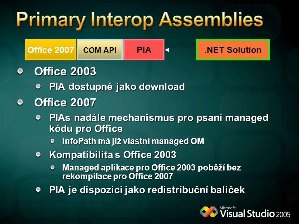 Office 2003 PIA dostupné jako download Office 2007 PIAs nadále mechanismus pro psaní managed kódu pro Office InfoPath má již vlastní managed OM Kompat