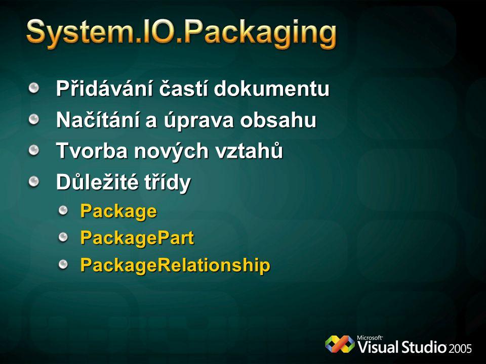 Přidávání častí dokumentu Načítání a úprava obsahu Tvorba nových vztahů Důležité třídy PackagePackagePartPackageRelationship