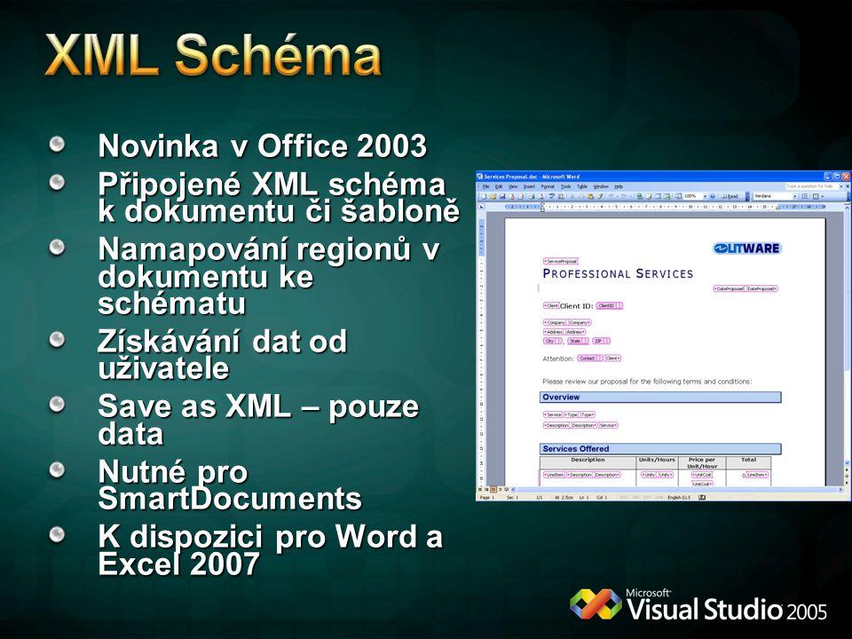 Novinka v Office 2003 Připojené XML schéma k dokumentu či šabloně Namapování regionů v dokumentu ke schématu Získávání dat od uživatele Save as XML –