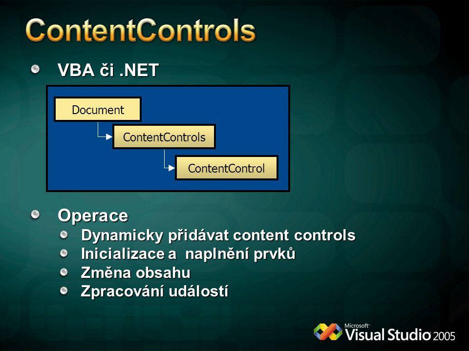 VBA či.NET Operace Dynamicky přidávat content controls Inicializace a naplnění prvků Změna obsahu Zpracování událostí Document ContentControls Content