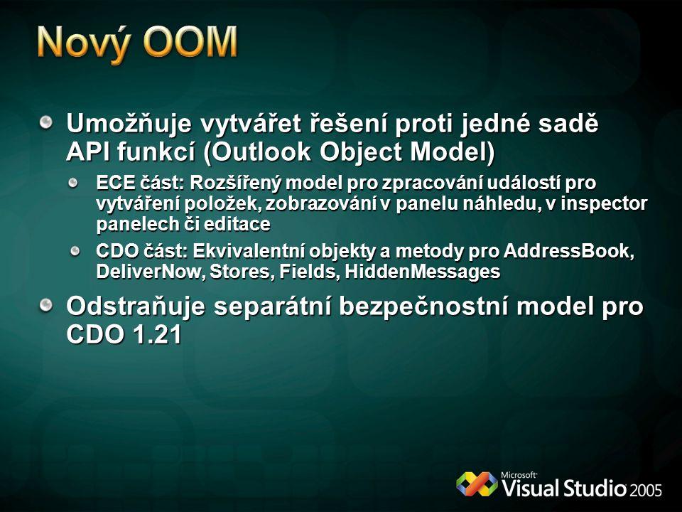 Umožňuje vytvářet řešení proti jedné sadě API funkcí (Outlook Object Model) ECE část: Rozšířený model pro zpracování událostí pro vytváření položek, z