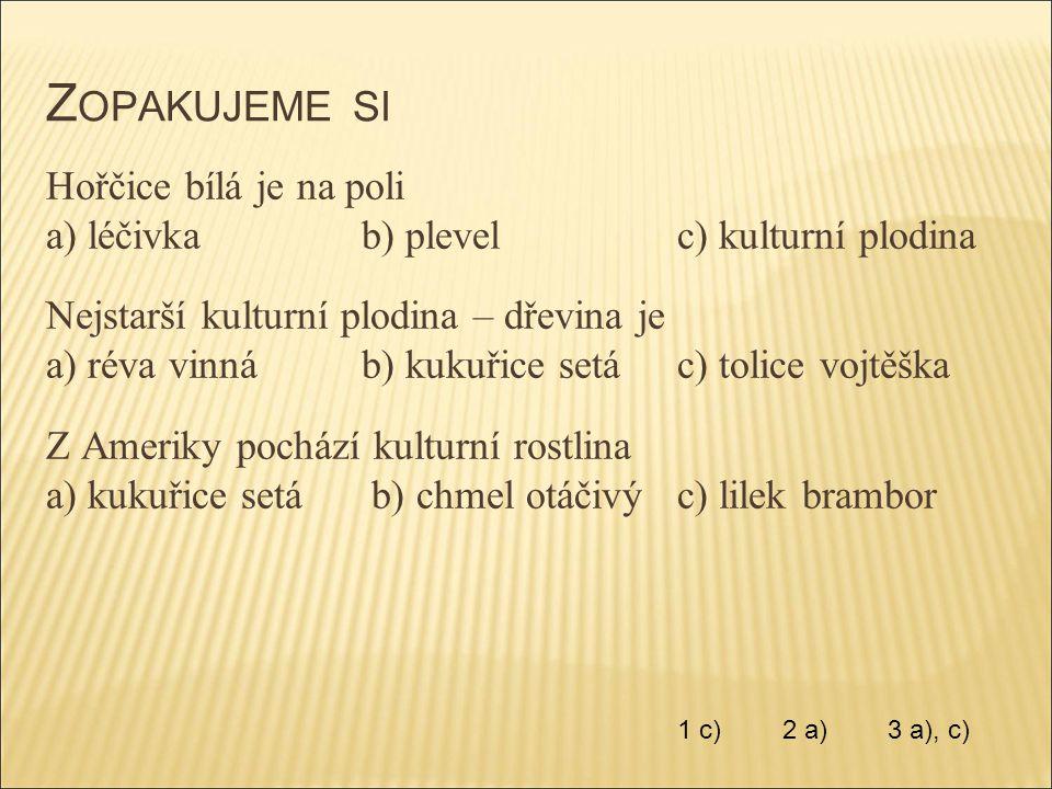 Z OPAKUJEME SI Hořčice bílá je na poli a) léčivkab) plevelc) kulturní plodina Nejstarší kulturní plodina – dřevina je a) réva vinnáb) kukuřice setác)