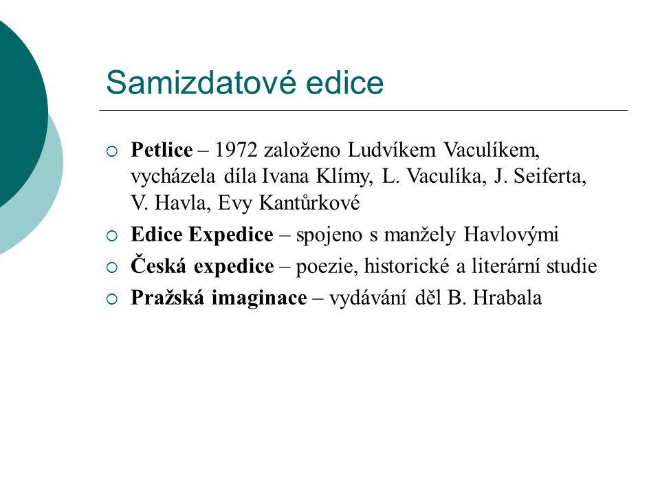 Samizdatové edice  Petlice – 1972 založeno Ludvíkem Vaculíkem, vycházela díla Ivana Klímy, L.