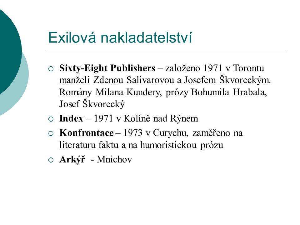 Exilová nakladatelství  Sixty-Eight Publishers – založeno 1971 v Torontu manželi Zdenou Salivarovou a Josefem Škvoreckým.