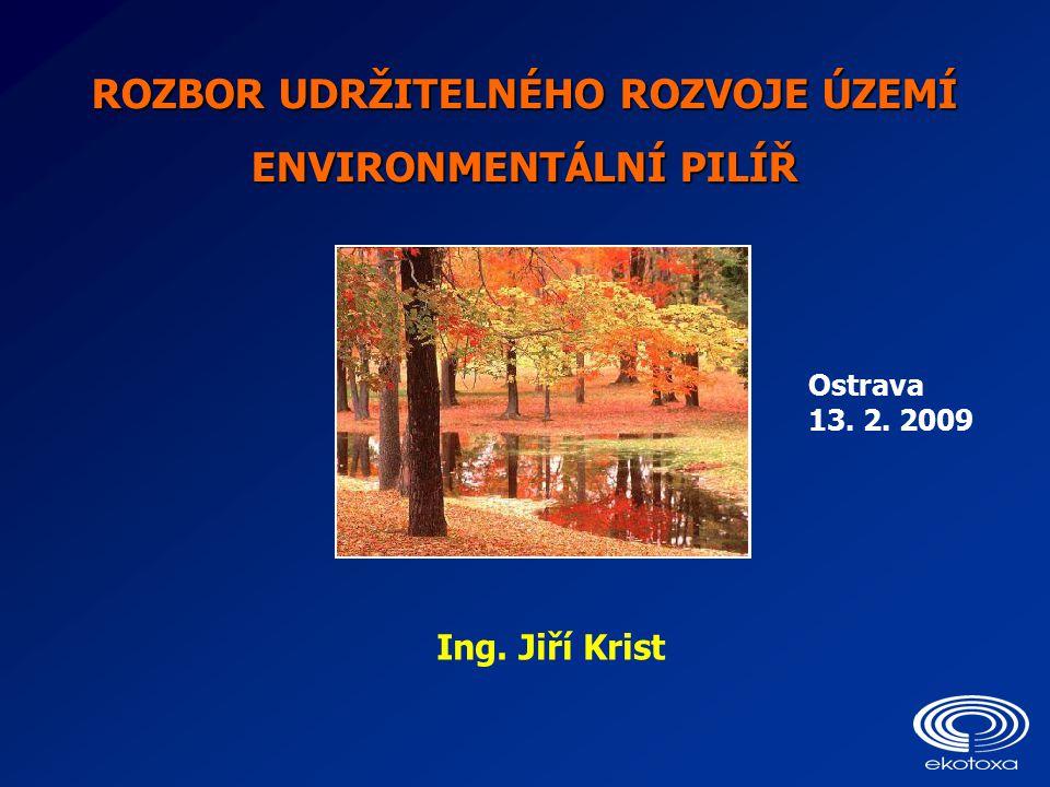 ROZBOR UDRŽITELNÉHO ROZVOJE ÚZEMÍ ENVIRONMENTÁLNÍ PILÍŘ Ostrava 13. 2. 2009 Ing. Jiří Krist
