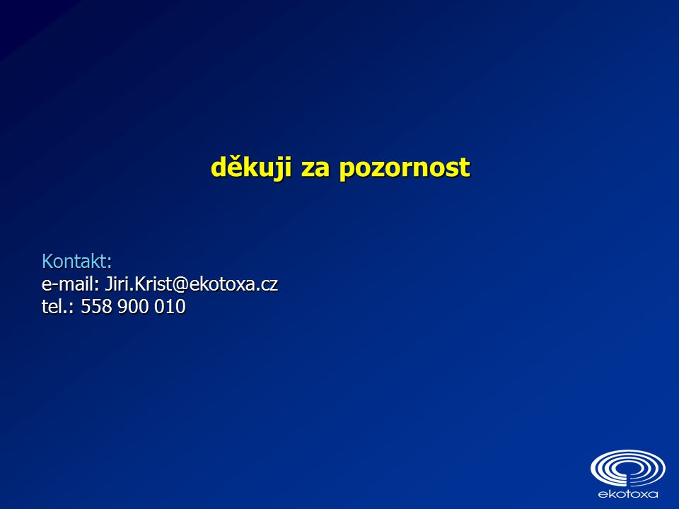 děkuji za pozornost Kontakt: e-mail: Jiri.Krist@ekotoxa.cz tel.: 558 900 010