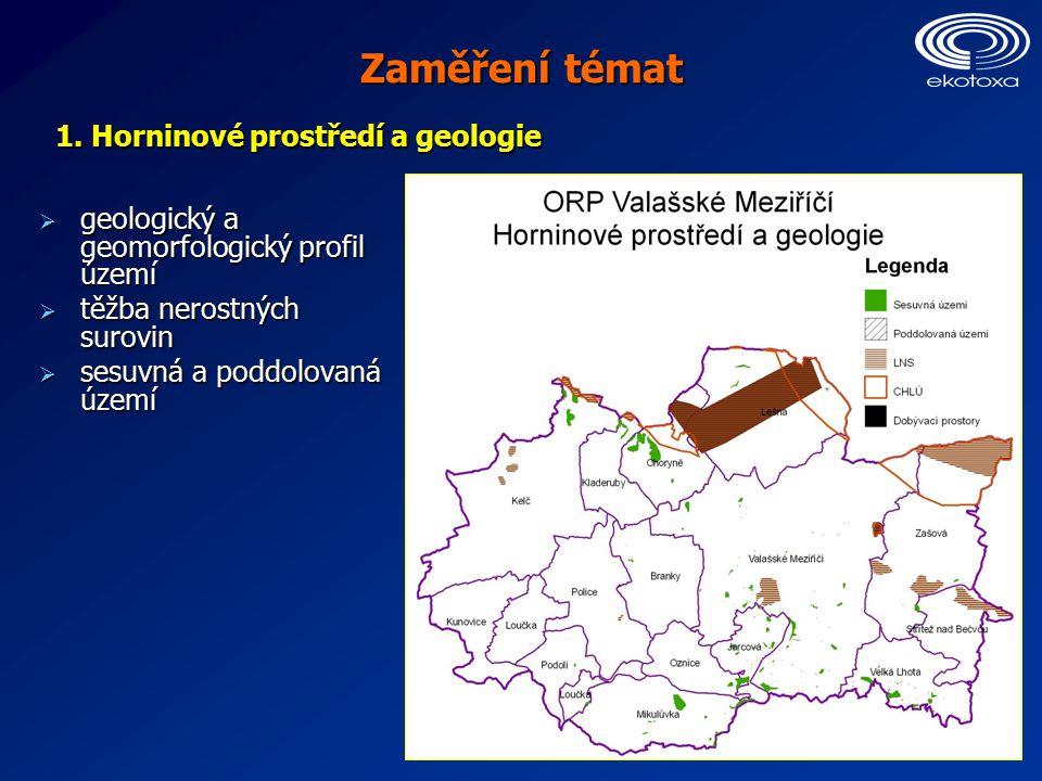 Zaměření témat  geologický a geomorfologický profil území  těžba nerostných surovin  sesuvná a poddolovaná území 1.