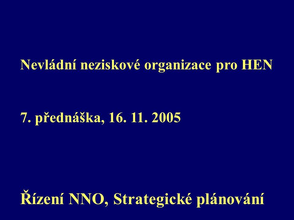 Nevládní neziskové organizace pro HEN 7. přednáška, 16. 11. 2005 Řízení NNO, Strategické plánování