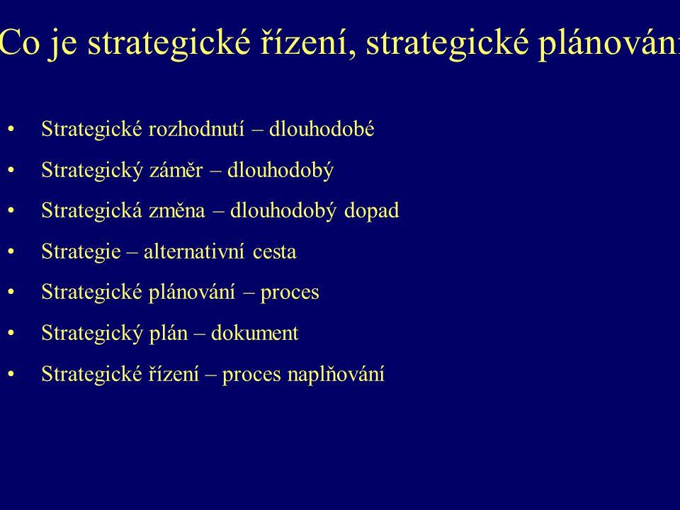 Co je strategické řízení, strategické plánování Strategické rozhodnutí – dlouhodobé Strategický záměr – dlouhodobý Strategická změna – dlouhodobý dopad Strategie – alternativní cesta Strategické plánování – proces Strategický plán – dokument Strategické řízení – proces naplňování