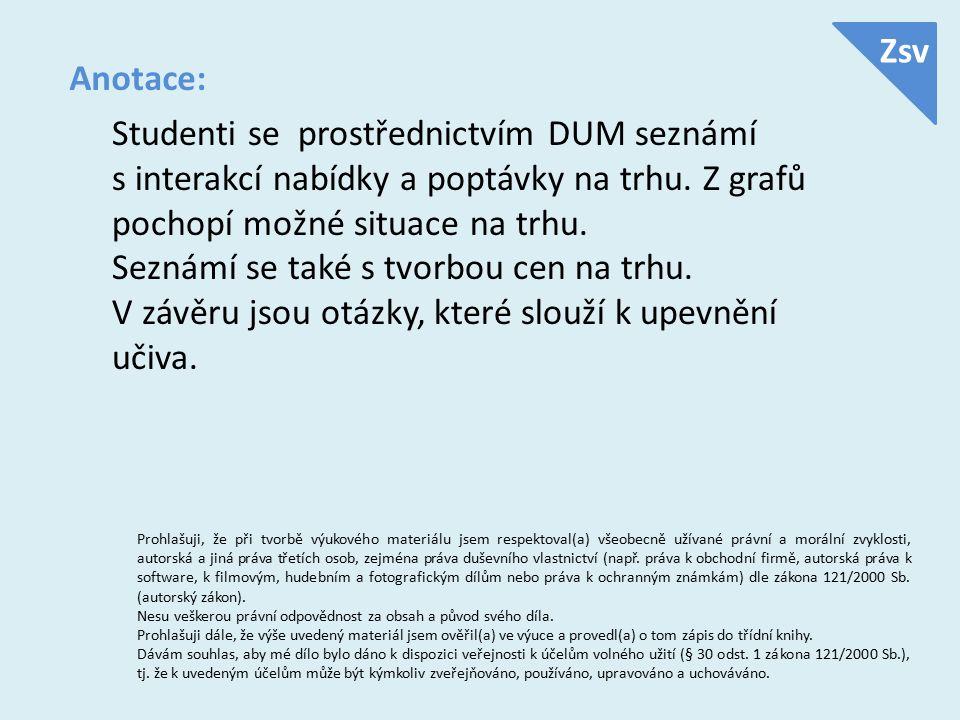 Anotace: Studenti se prostřednictvím DUM seznámí s interakcí nabídky a poptávky na trhu.