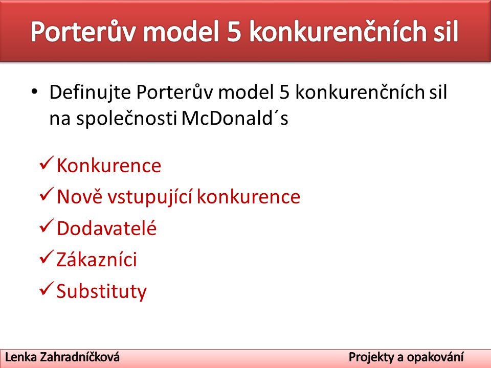Definujte Porterův model 5 konkurenčních sil na společnosti McDonald´s Konkurence Nově vstupující konkurence Dodavatelé Zákazníci Substituty