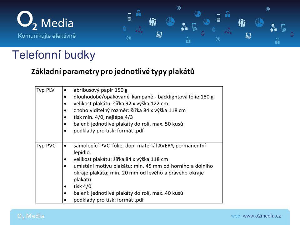 web: www.o2media.cz Komunikujte efektivně Telefonní budky Základní parametry pro jednotlivé typy plakátů