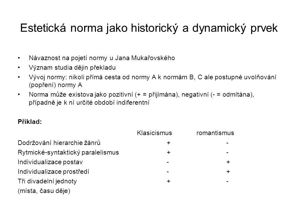Estetická norma jako historický a dynamický prvek Návaznost na pojetí normy u Jana Mukařovského Význam studia dějin překladu Vývoj normy: nikoli přímá cesta od normy A k normám B, C ale postupné uvolňování (popření) normy A Norma může existova jako pozitivní (+ = přijímána), negativní (- = odmítána), případně je k ní určité období indiferentní Příklad: Klasicismusromantismus Dodržování hierarchie žánrů +- Rytmické-syntaktický paralelismus+- Individualizace postav- + Individualizace prostředí- + Tři divadelní jednoty + - (místa, času děje)