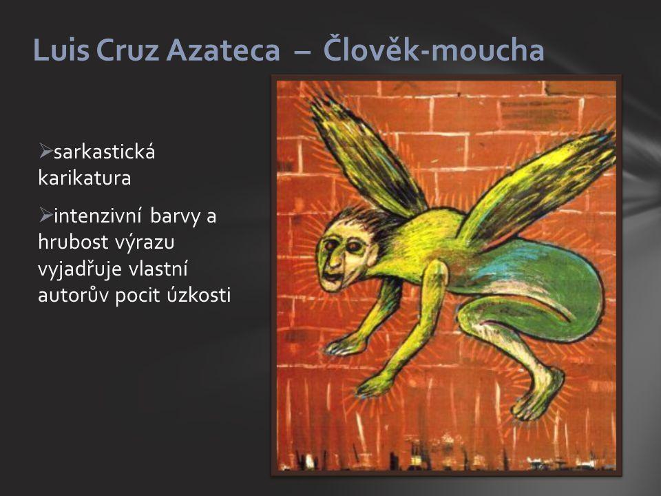  sarkastická karikatura  intenzivní barvy a hrubost výrazu vyjadřuje vlastní autorův pocit úzkosti Luis Cruz Azateca – Člověk-moucha