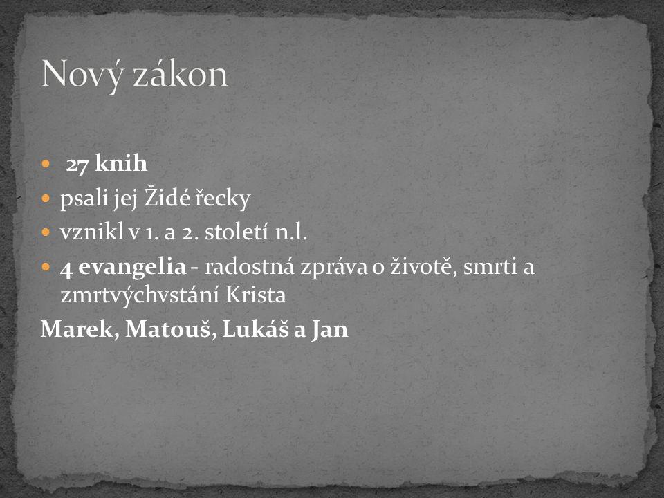 27 knih psali jej Židé řecky vznikl v 1. a 2. století n.l. 4 evangelia - radostná zpráva o životě, smrti a zmrtvýchvstání Krista Marek, Matouš, Lukáš