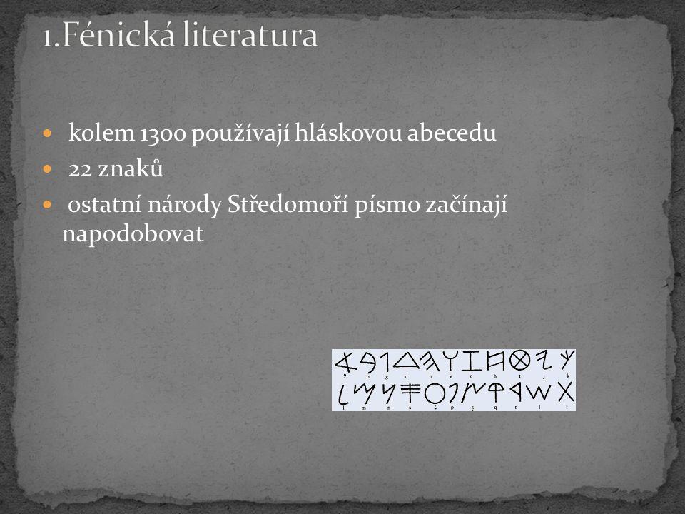 kolem 1300 používají hláskovou abecedu 22 znaků ostatní národy Středomoří písmo začínají napodobovat
