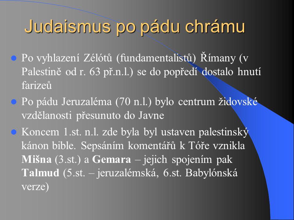 Po vyhlazení Zélótů (fundamentalistů) Římany (v Palestině od r. 63 př.n.l.) se do popředí dostalo hnutí farizeů Po pádu Jeruzaléma (70 n.l.) bylo cent