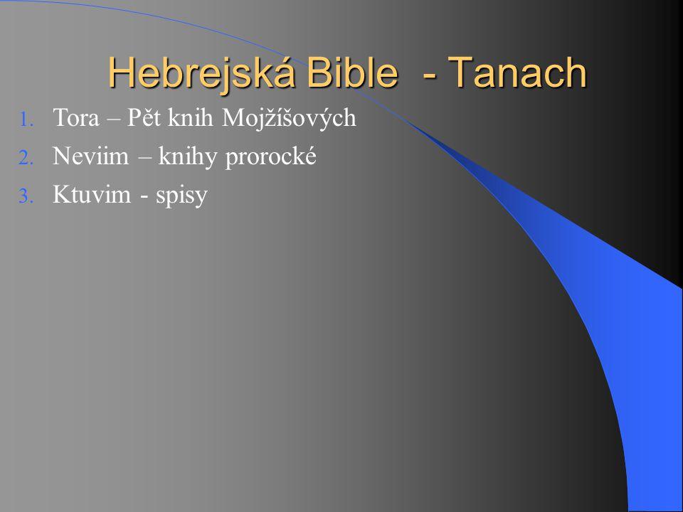 Hebrejská Bible - Tanach 1. Tora – Pět knih Mojžíšových 2. Neviim – knihy prorocké 3. Ktuvim - spisy