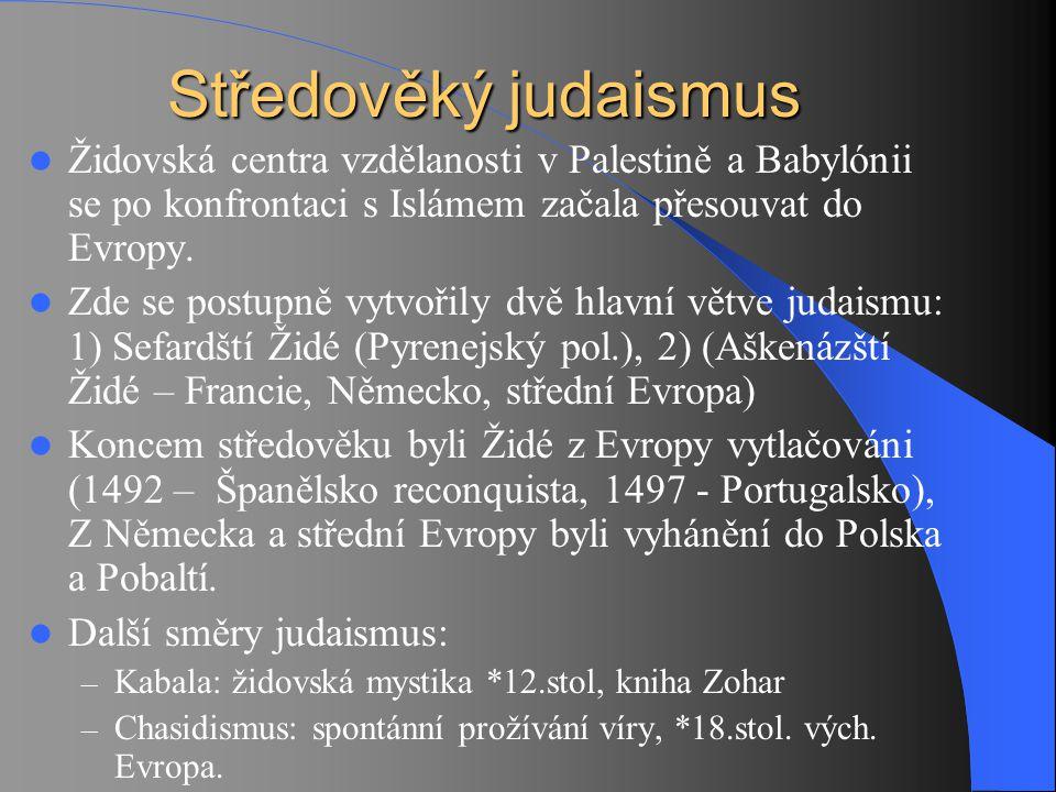 Židovská centra vzdělanosti v Palestině a Babylónii se po konfrontaci s Islámem začala přesouvat do Evropy. Zde se postupně vytvořily dvě hlavní větve