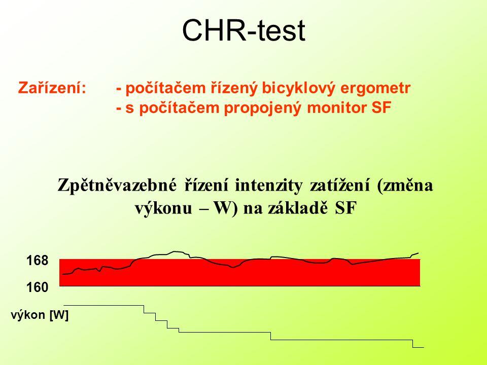 Hodnoty: Hodnocené parametry CHR testu: 2) Výkonnost kardiovaskulárního systému během dlouhodobého zatížení (VODZ) – vytrvalostní schopnosti Vychází z Wx 1) Výkonnost kardiovaskulárního systému během krátkodobého zatížené (VOKZ) – rychlostní (silové) schopnosti Vychází z W1 1) W1 – výkon na počátku testu 2) Wx – průměrný výkon během vlastního testu 3) N – počet změn výkonu