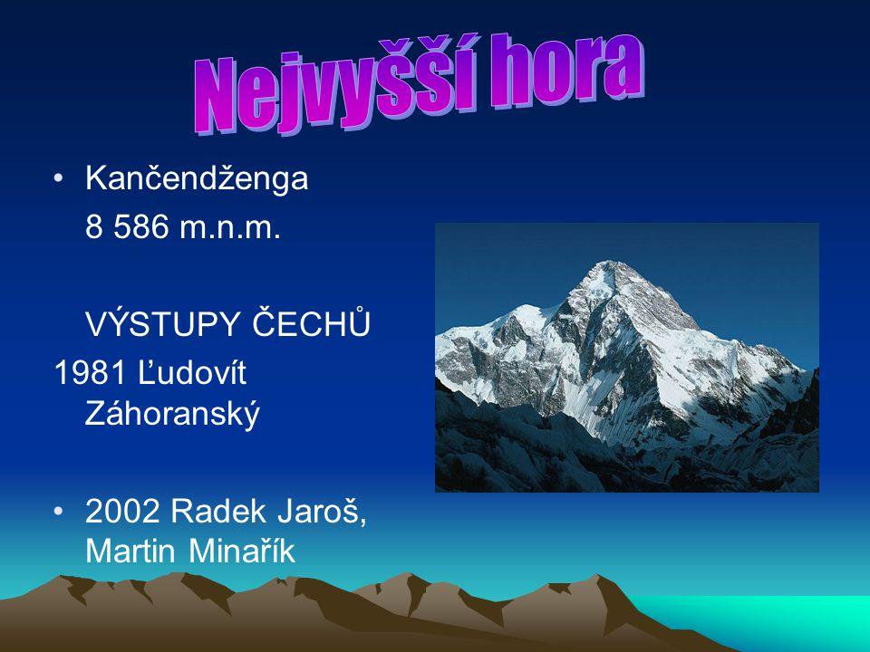 Kančendženga 8 586 m.n.m. VÝSTUPY ČECHŮ 1981 Ľudovít Záhoranský 2002 Radek Jaroš, Martin Minařík