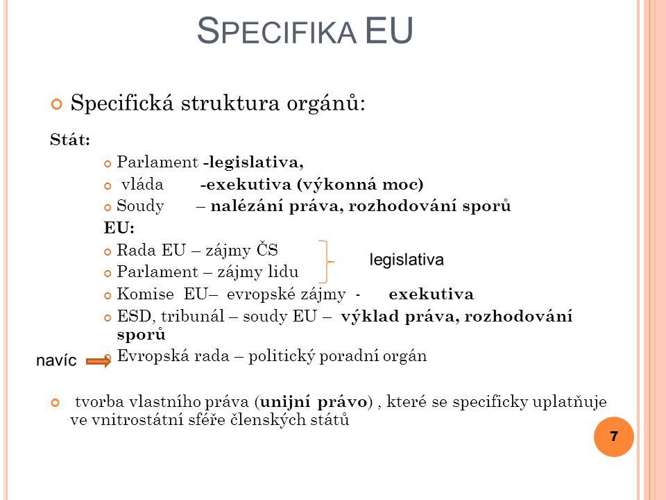 N ADSTÁTNOST ( SUPRANACIONALITA ) Překonává nedostatky tradičních MO; omezení svrchovanosti a přenos některých kompetencí z čl.