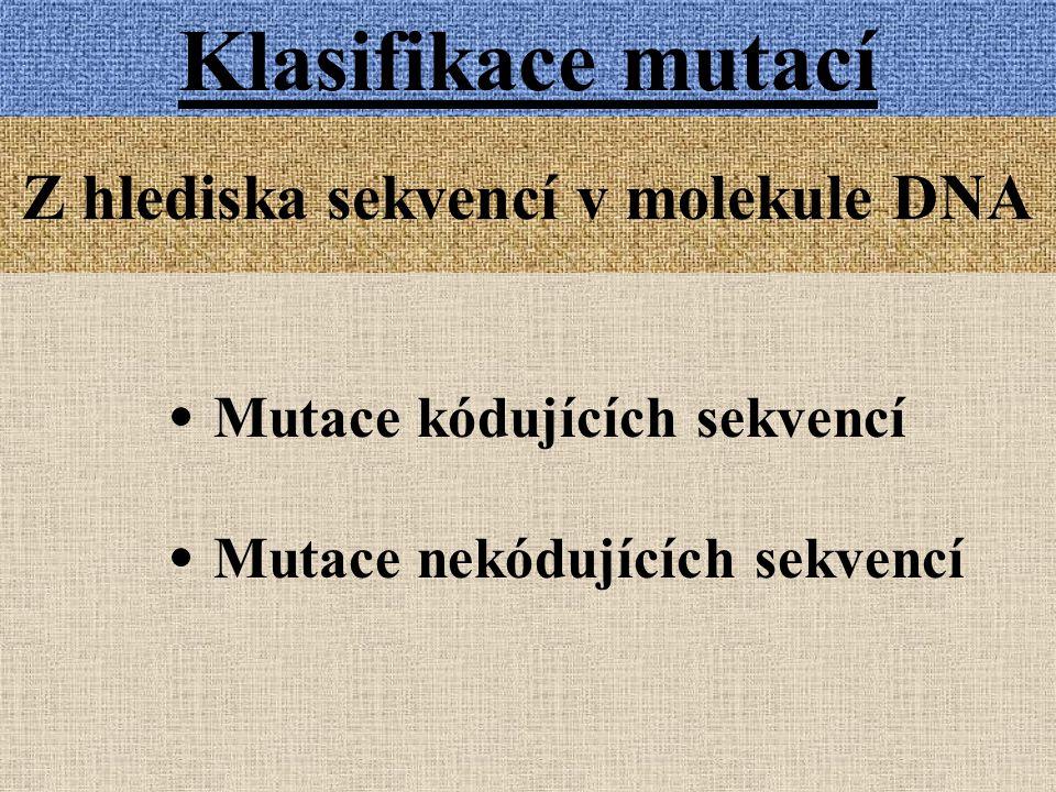 Klasifikace mutací Z hlediska sekvencí v molekule DNA Mutace kódujících sekvencí Mutace nekódujících sekvencí