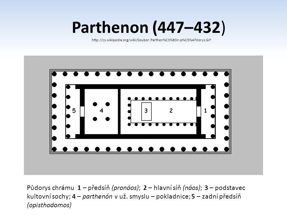 Parthenon (447– 432) http://cs.wikipedia.org/wiki/Soubor:Parthen%C3%B3n-p%C5%AFdorys.GIF Půdorys chrámu 1 – předsíň (pronáos); 2 – hlavní síň (náos);